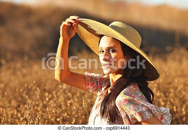 gyönyörű, nyár, nő, fiatal, mező, idő - csp6914443