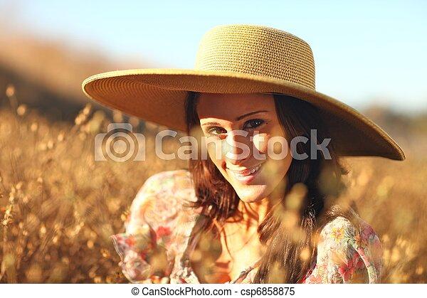gyönyörű, nyár, nő, fiatal, mező, idő - csp6858875