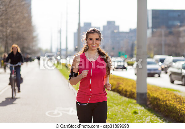gyönyörű, város, futás, nő, fiatal - csp31899698