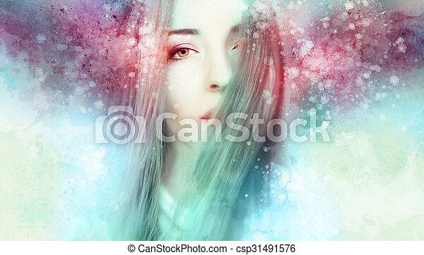 gyönyörű woman, artwork - csp31491576