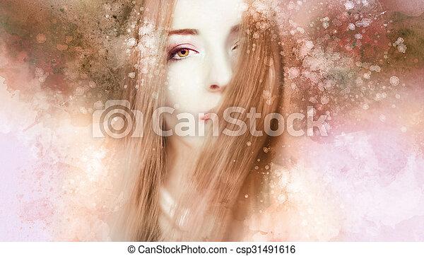 gyönyörű woman, artwork - csp31491616
