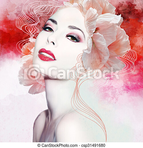 gyönyörű woman, artwork - csp31491680