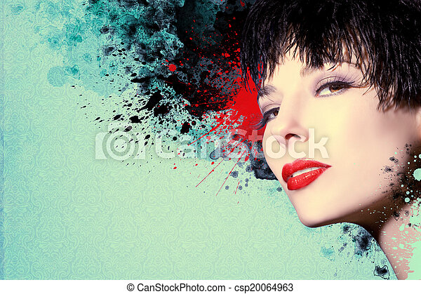 gyönyörű woman, artwork, tinta - csp20064963