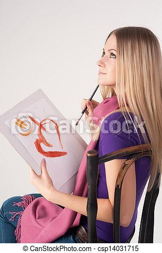 gyönyörű woman, festmény - csp14031715