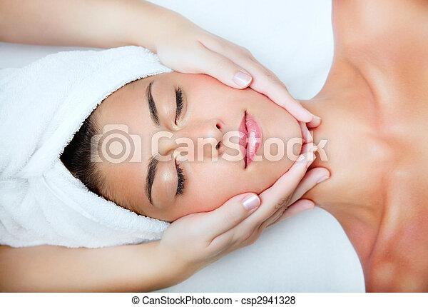 gyönyörű woman, fiatal, massage., arcápolás, felfogó - csp2941328