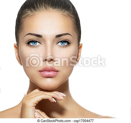 gyönyörű woman, neki, szépség, arc, megható, portrait., ásványvízforrás - csp17054477