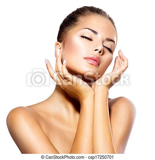 gyönyörű woman, neki, szépség, arc, megható, portrait., ásványvízforrás, leány - csp17250701