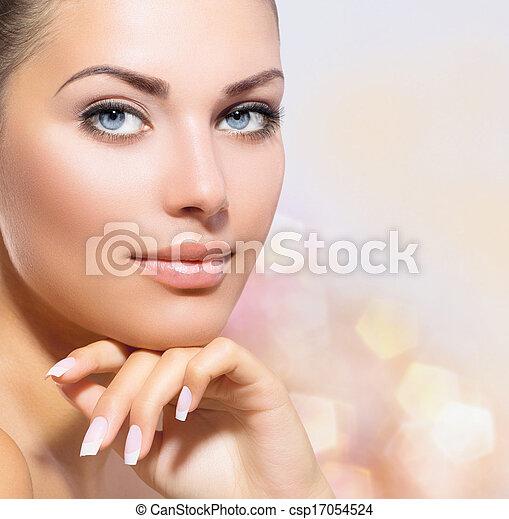gyönyörű woman, neki, szépség, arc, megható, portrait., ásványvízforrás - csp17054524