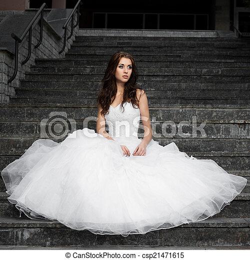 gyönyörű woman, ruha, fiatal, esküvő - csp21471615