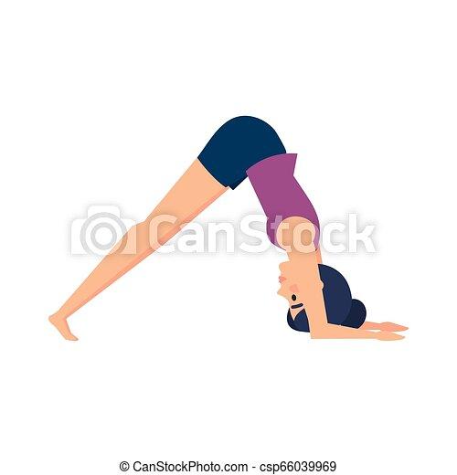 gyakorló, nő, yoga helyzet - csp66039969