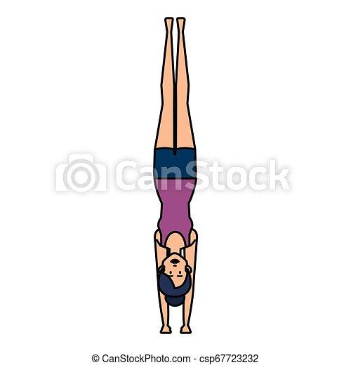gyakorló, nő, yoga helyzet - csp67723232