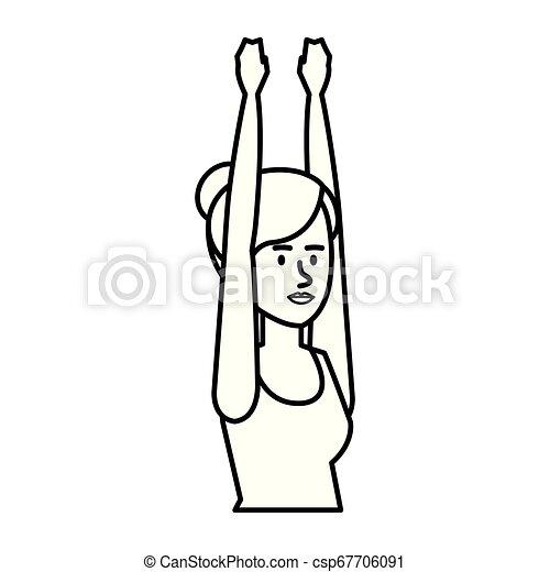 gyakorló, nő, yoga helyzet - csp67706091