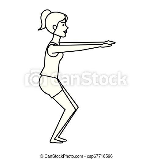 gyakorló, nő, yoga helyzet - csp67718596