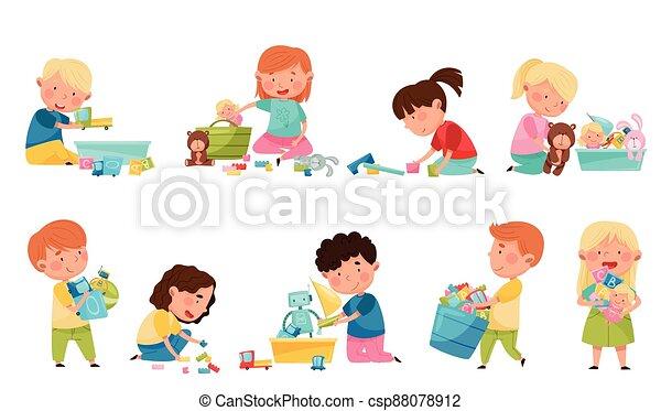 gyerekek, csinos, állhatatos, apró, különböző, gyerekszoba, játék, vektor, ábra - csp88078912