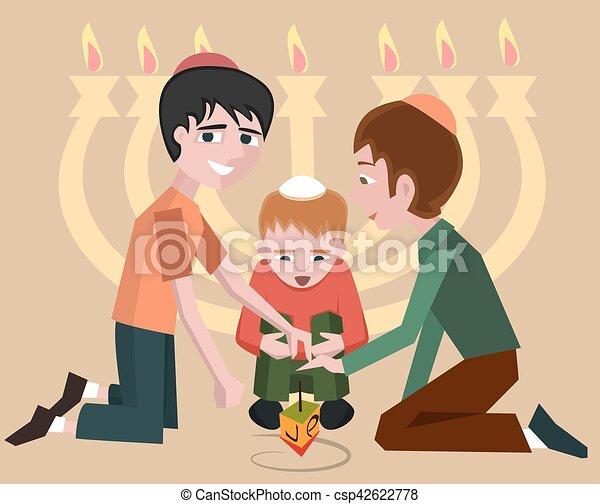 gyerekek, hanukkah, jewish jelkép, forgás tető - csp42622778
