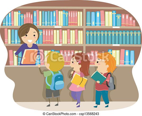 gyerekek, könyvtár - csp13568243