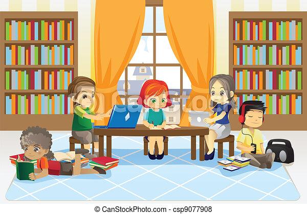 gyerekek, könyvtár - csp9077908