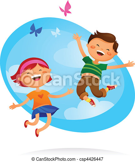 gyerekek, ugrás, boldog - csp4426447