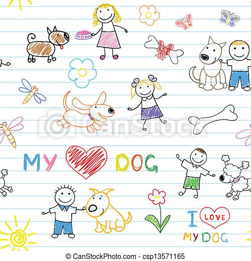 gyermekek, kutyák - csp13571165