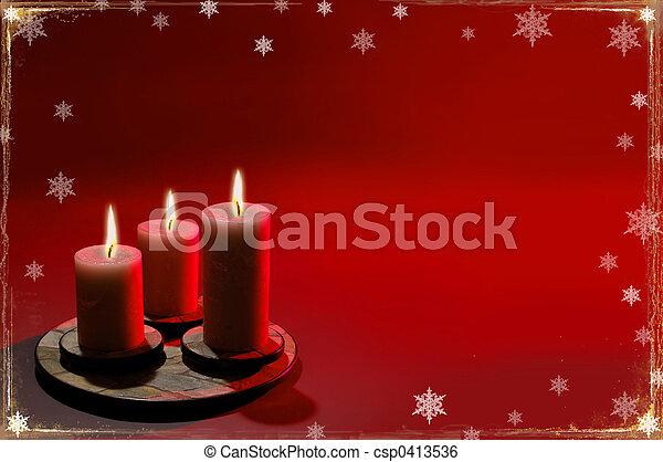 gyertya, karácsony, háttér, három - csp0413536