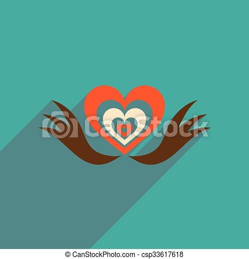 háló, szív, kasfogó, ikon, árnyék, lakás, hosszú - csp33617618
