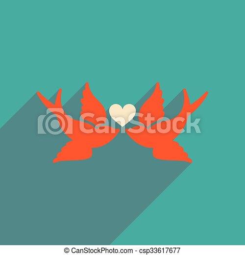 háló, szív, madarak, ikon, árnyék, lakás, hosszú - csp33617677