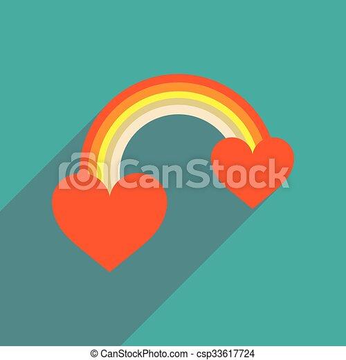 háló, szív, szivárvány, ikon, árnyék, lakás, hosszú - csp33617724