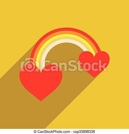 háló, szív, szivárvány, ikon, árnyék, lakás, hosszú - csp33898338