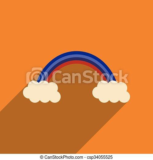 háló, szivárvány, ikon, árnyék, lakás, hosszú - csp34055525
