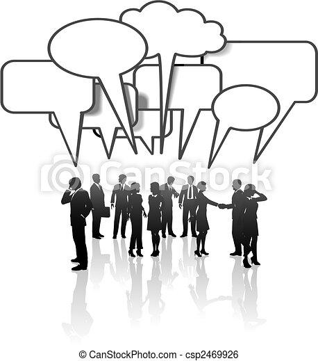 hálózat, ügy emberek, média, kommunikáció, brigád társalgás - csp2469926