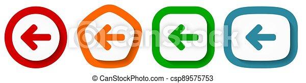 hát, háttér, fehér, ikon, tervezés, gombok, nyíl, állhatatos, bal, vektor, lakás - csp89575753