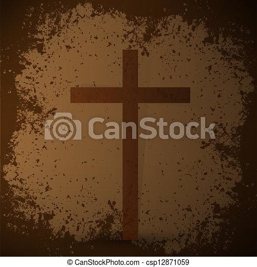 háttér., concept., grunge, kereszt, bibliai - csp12871059