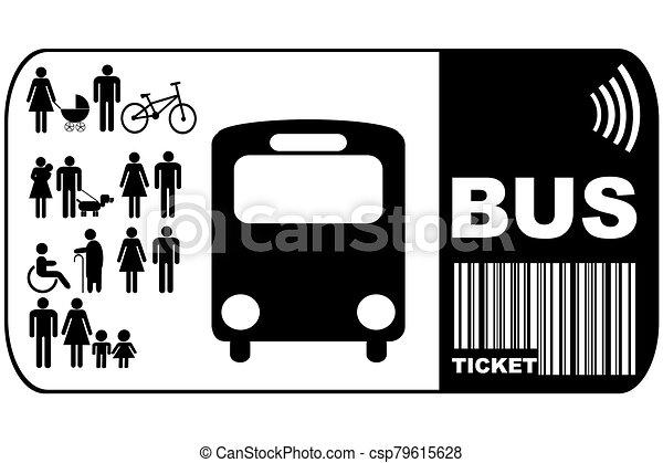 háttér, elszigetelt, cédula, autóbusz, fehér - csp79615628