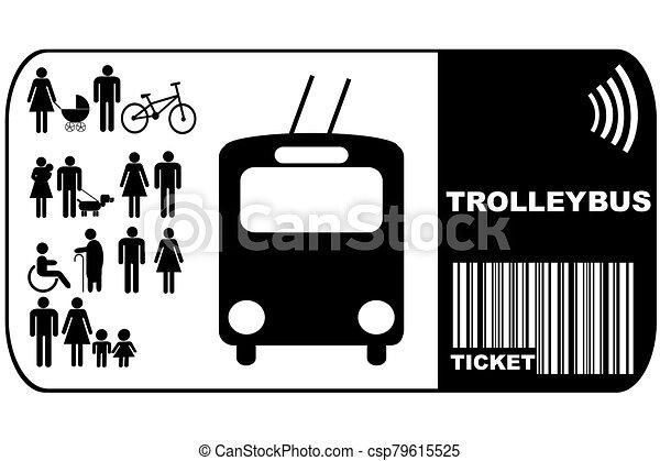 háttér, elszigetelt, trolleybus, cédula, autóbusz, fehér - csp79615525