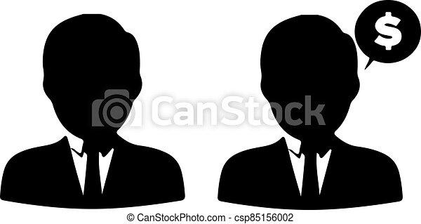 háttér, fehér, ember, ügy, elszigetelt, ikon - csp85156002