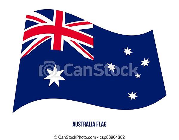 háttér., flag., lobogó, nemzeti, ausztrália, fehér, hullámzás, vektor, ábra - csp88964302