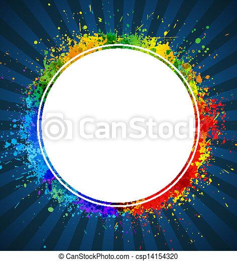 háttér., szín, keret, gradiens, vektor, loccsan, kerek - csp14154320