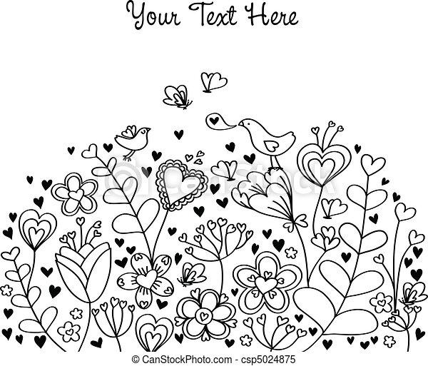 háttér, szív, virágos - csp5024875