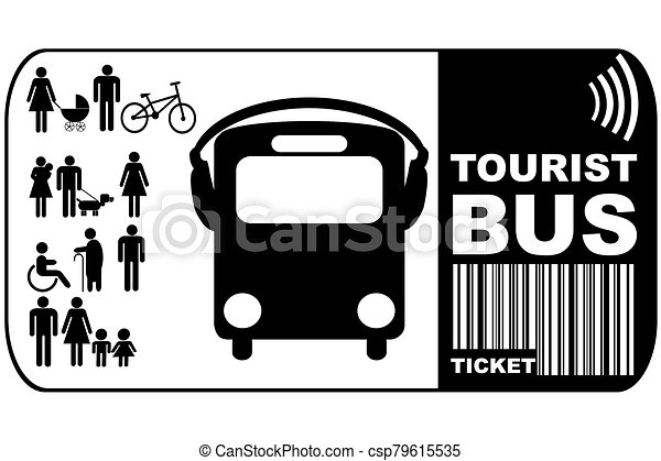 háttér, természetjáró, elszigetelt, cédula, autóbusz, fehér - csp79615535