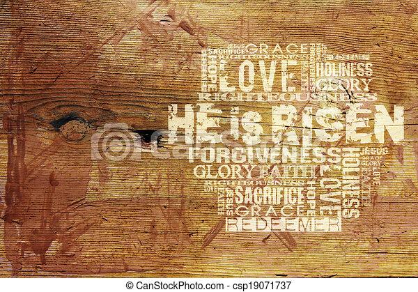 """háttér, vallásos, """"he, risen"""" - csp19071737"""