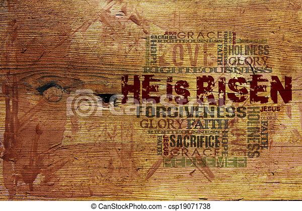 """háttér, vallásos, """"he, risen"""" - csp19071738"""