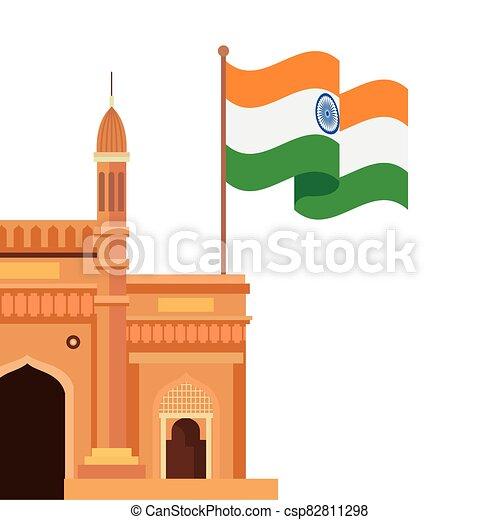 híres, emlékmű, háttér, india lobogó, fehér, kapubejárat - csp82811298