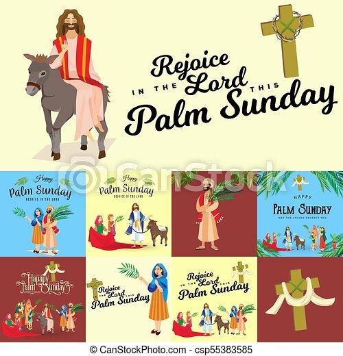 húsvét, család, emberek, jézus, jeruzsálem, pálma, köszöntések, előbb, krisztus, szamár, pálma, vallás, vasárnap, ünnep, gördülni, boldog, belépés, ünneplés, ábra, zöld, vektor, ember - csp55383585