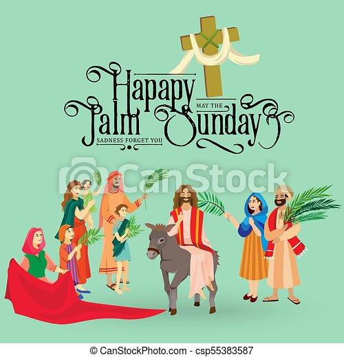 húsvét, család, emberek, jézus, jeruzsálem, pálma, köszöntések, előbb, krisztus, szamár, pálma, vallás, vasárnap, ünnep, gördülni, boldog, belépés, ünneplés, ábra, zöld, vektor, ember - csp55383587