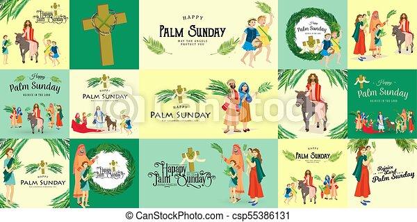húsvét, család, emberek, jézus, jeruzsálem, pálma, köszöntések, előbb, krisztus, szamár, pálma, vallás, vasárnap, ünnep, gördülni, boldog, belépés, ünneplés, ábra, zöld, vektor, ember - csp55386131