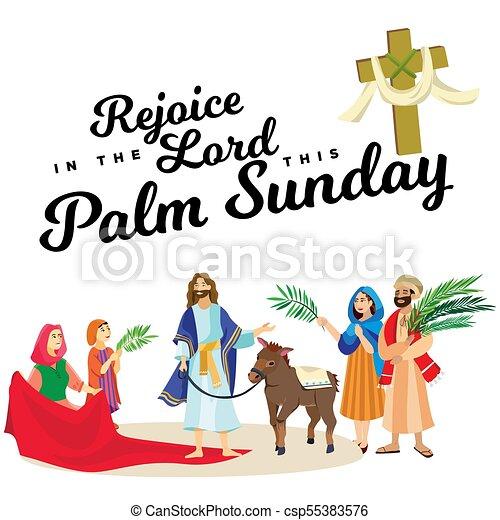 húsvét, család, emberek, jézus, jeruzsálem, pálma, köszöntések, előbb, krisztus, szamár, pálma, vallás, vasárnap, ünnep, gördülni, boldog, belépés, ünneplés, ábra, zöld, vektor, ember - csp55383576