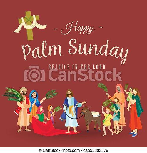 húsvét, család, emberek, jézus, jeruzsálem, pálma, köszöntések, előbb, krisztus, szamár, pálma, vallás, vasárnap, ünnep, gördülni, boldog, belépés, ünneplés, ábra, zöld, vektor, ember - csp55383579