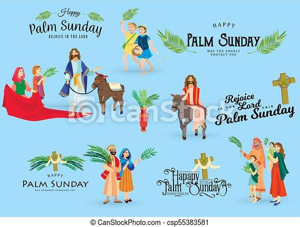 húsvét, emberek, jézus, jeruzsálem, pálma, köszöntések, előbb, krisztus, szamár, pálma, vallás, vasárnap, ünnep, gördülni, boldog, belépés, nő, ünneplés, gyerekek, ábra, zöld, vektor, ember - csp55383581