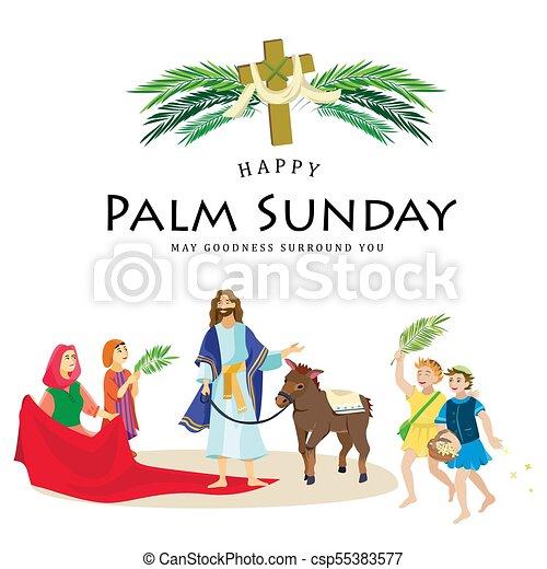 húsvét, emberek, jézus, jeruzsálem, pálma, köszöntések, childrens, krisztus, szamár, pálma, vallás, vasárnap, előbb, ünnep, gördülni, boldog, belépés, ünneplés, ábra, zöld, vektor, ember - csp55383577