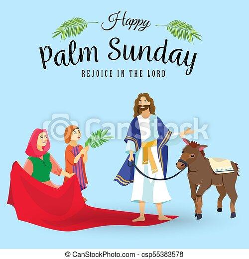 húsvét, emberek, jézus, jeruzsálem, pálma, köszöntések, childrens, krisztus, szamár, pálma, vallás, vasárnap, előbb, ünnep, gördülni, boldog, belépés, ünneplés, ábra, zöld, vektor, ember - csp55383578